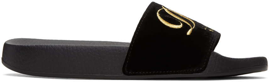 Dolce and Gabbana Black Velvet luxury Hotel Sandals