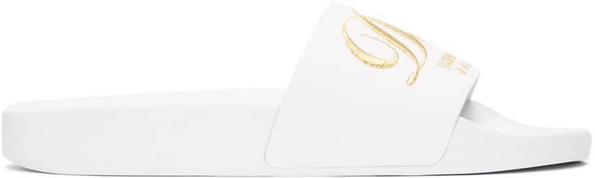 Dolce and Gabbana White Luxury Hotel Velvet Slide Sandals