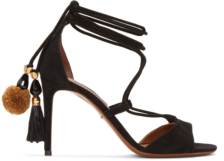 Dolce and Gabbana Black Suede Lace-up Sandals