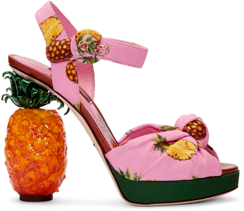 Dolce and Gabbana Pink Pineapple Sandals