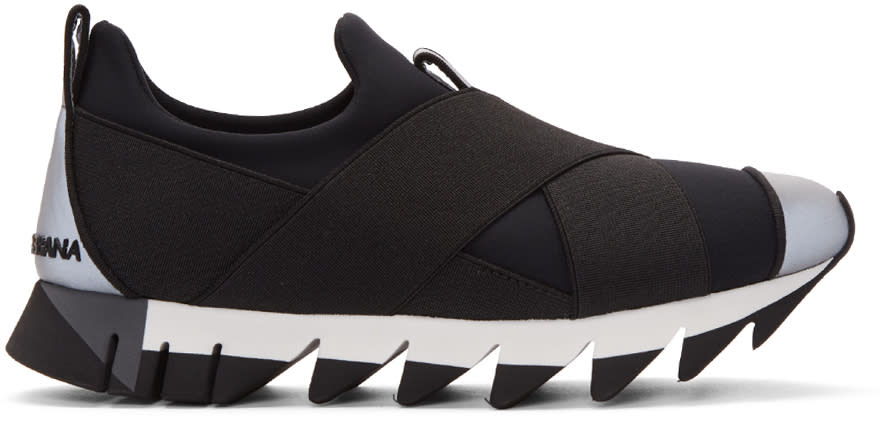 Dolce and Gabbana Black Criss-cross Sneakers