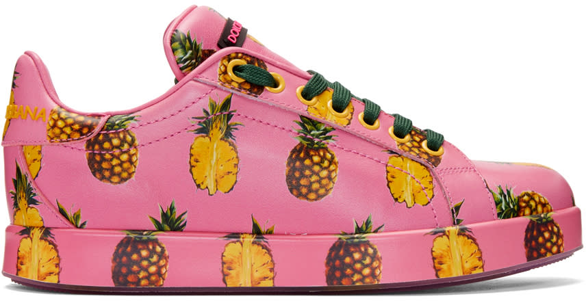 Dolce and Gabbana Pink Pineapple Sneakers
