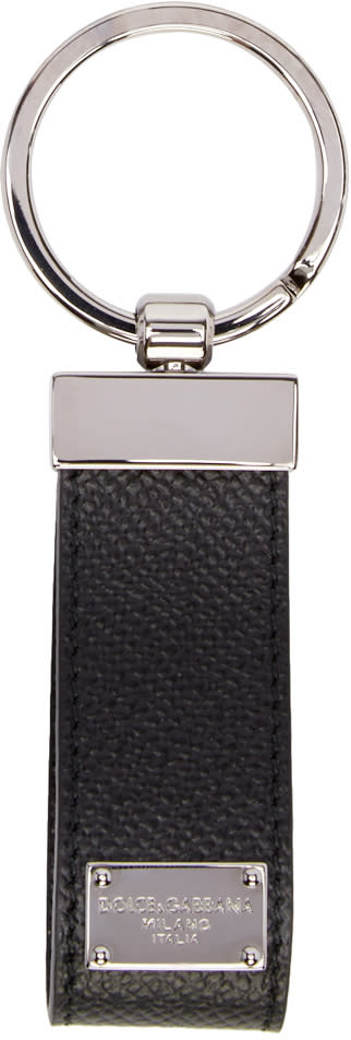 Dolce and Gabbana Black Leather Classic Keychain