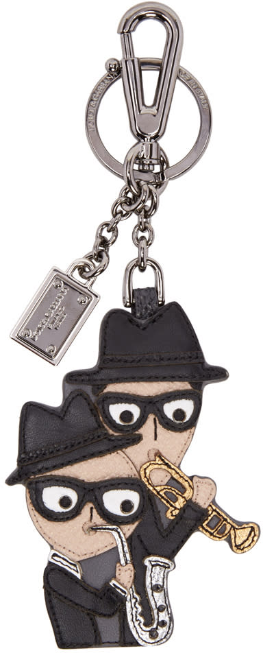 Dolce and Gabbana Black Leather Family Keychain