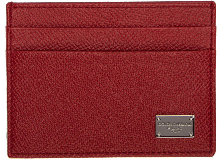 Dolce and Gabbana Red Classic Logo Card Holder