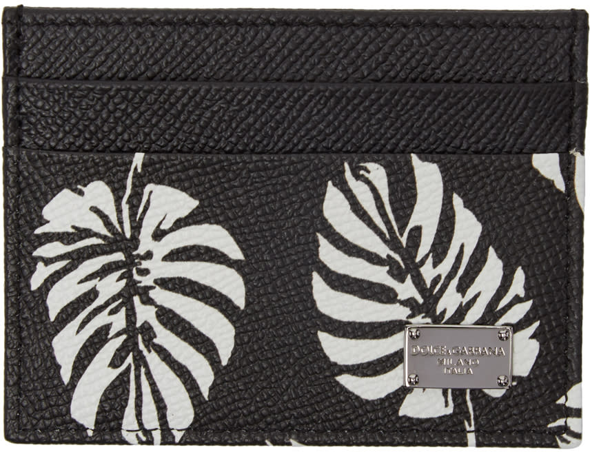 Dolce and Gabbana Black Leaves Card Holder