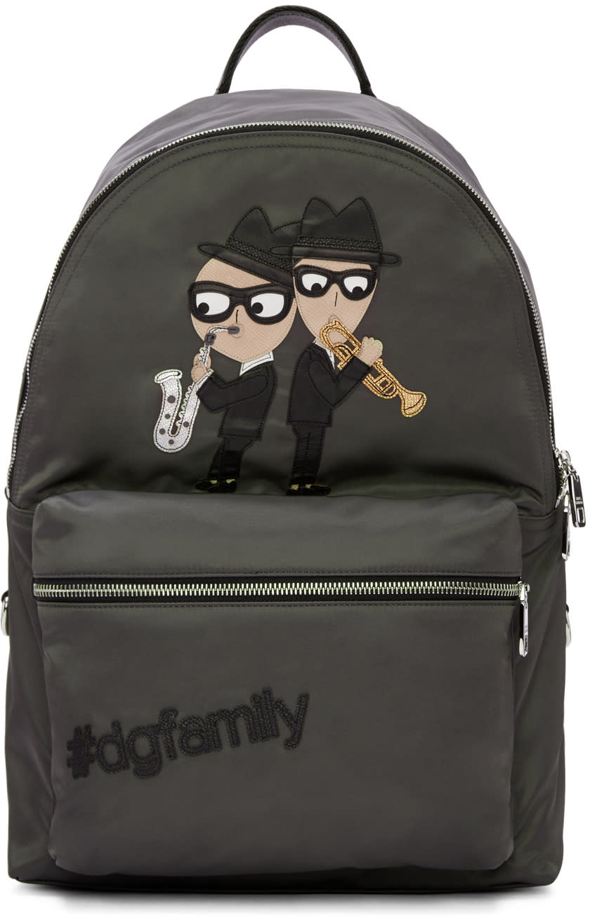 Dolce and Gabbana Grey Nylon Jazz Players Backpack
