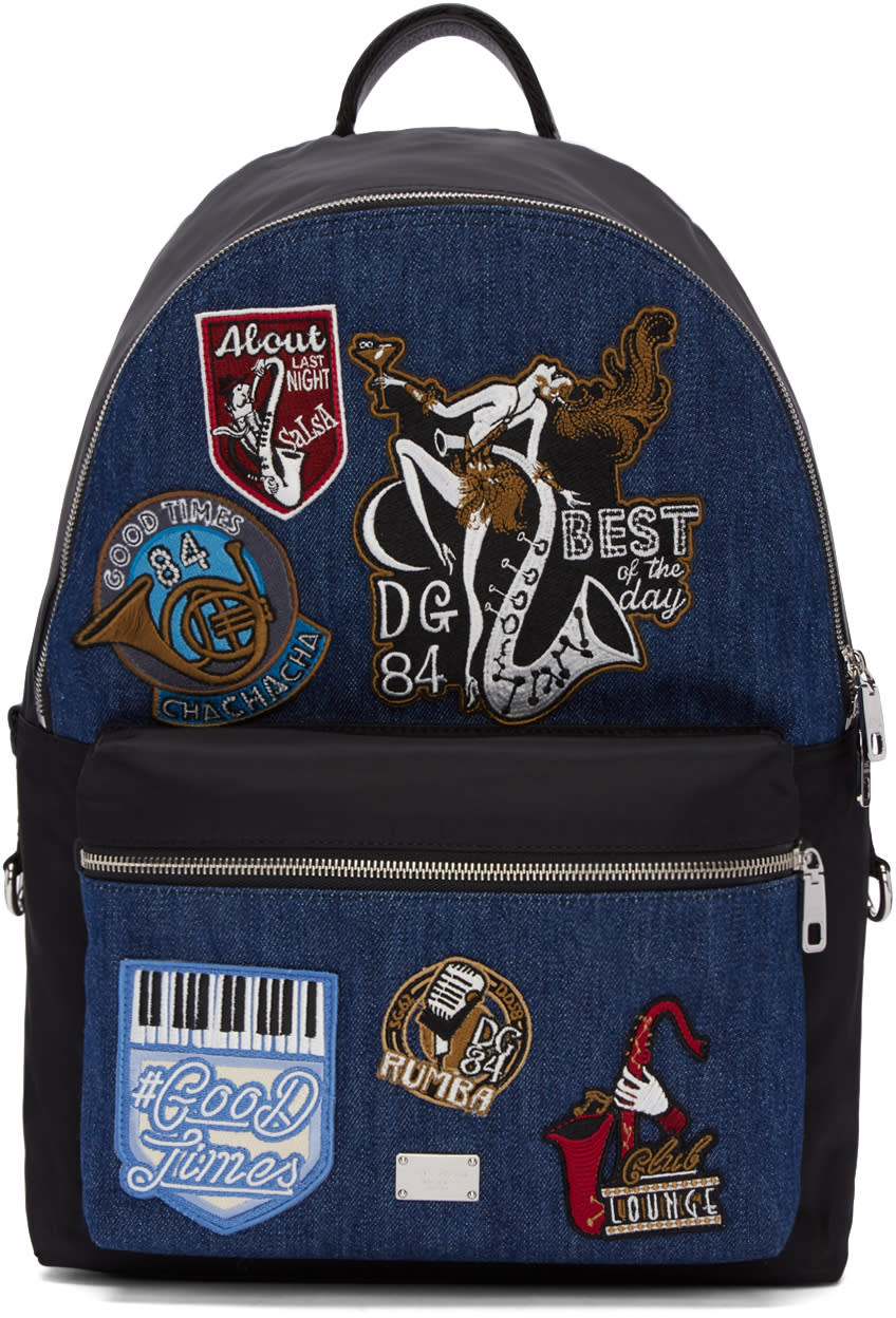 Dolce and Gabbana Black and Blue Denim Patches Backpack