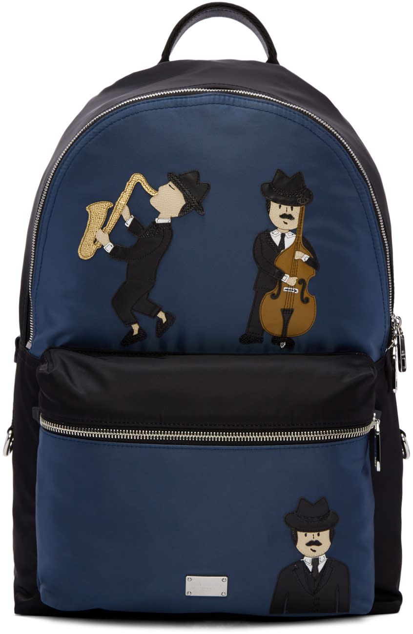 Dolce and Gabbana Black and Blue Nylon Jazz Players Backpack