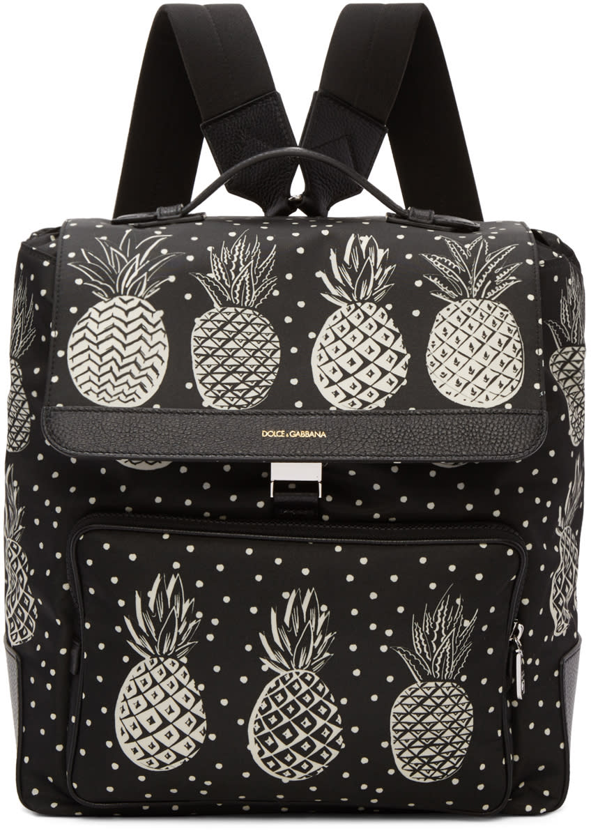 Dolce and Gabbana Black Pineapple Backpack