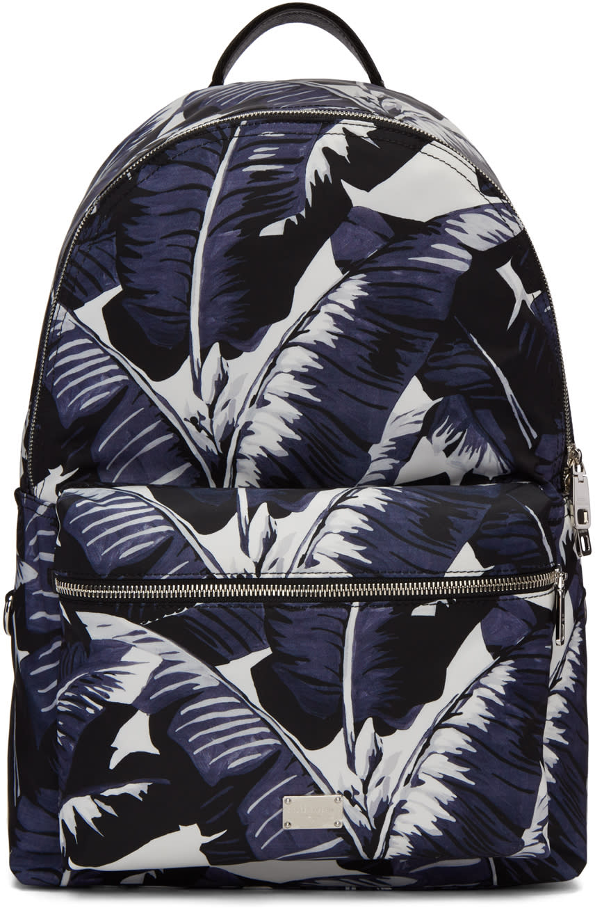 Dolce and Gabbana Multicolor Banana Leaves Print Backpack