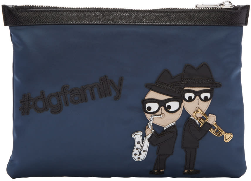 Dolce and Gabbana Blue Nylon Sax Players Pouch