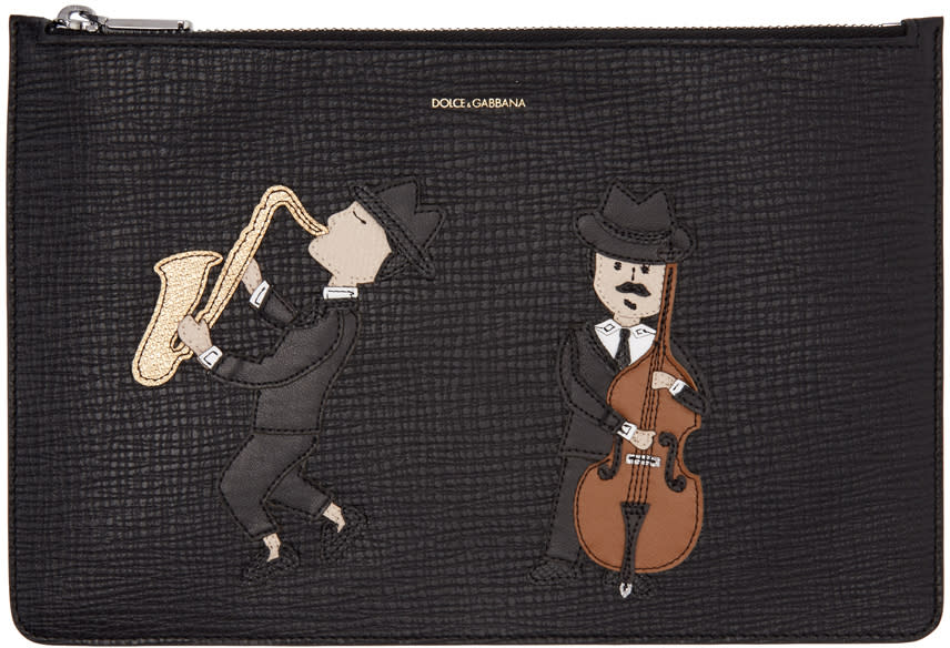Dolce and Gabbana Black Sax and Cello Player Pouch
