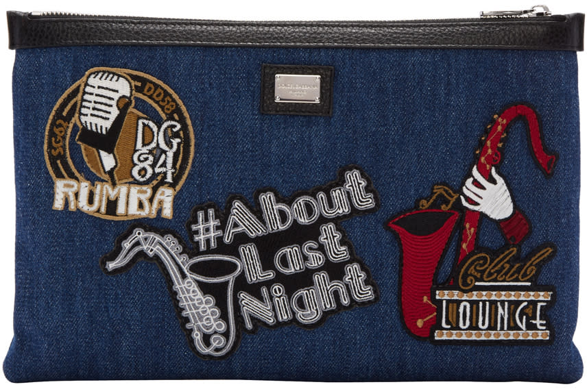 Dolce and Gabbana Blue Denim Patches Pouch