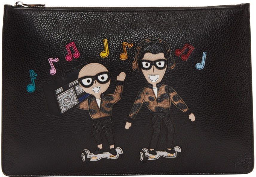Dolce and Gabbana Black Designers and Boombox Pouch