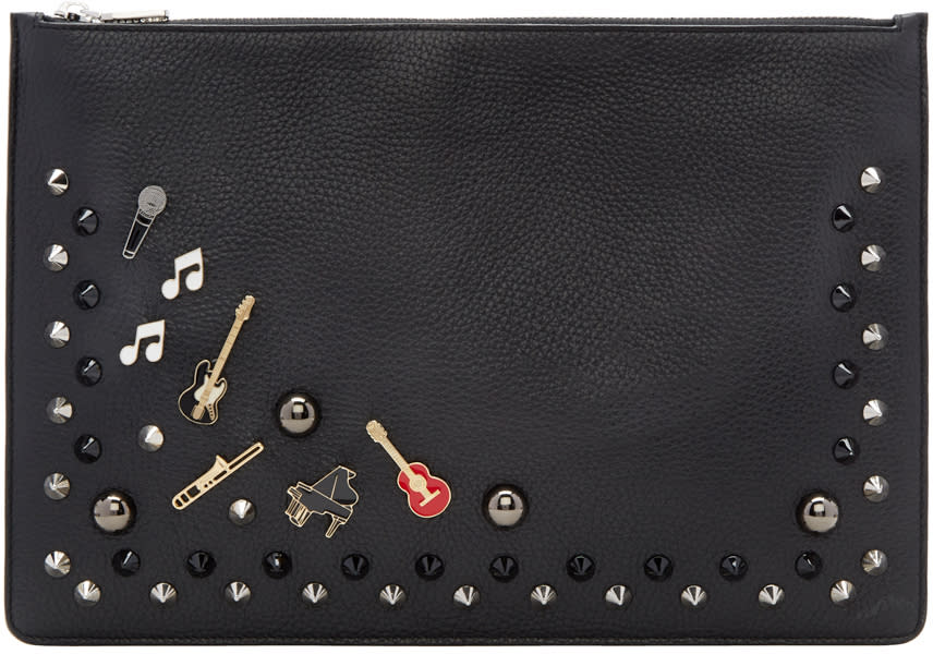 Dolce and Gabbana Black Studs and Pins Pouch