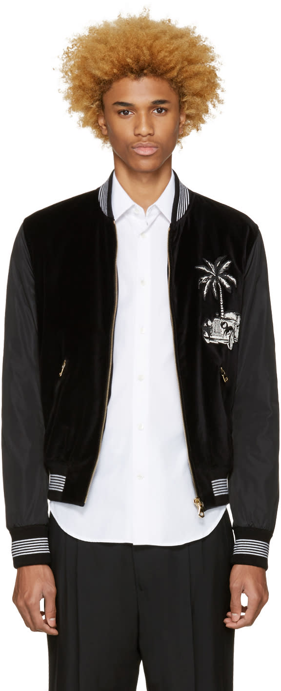 Dolce and Gabbana Black Embroidered Bomber Jacket
