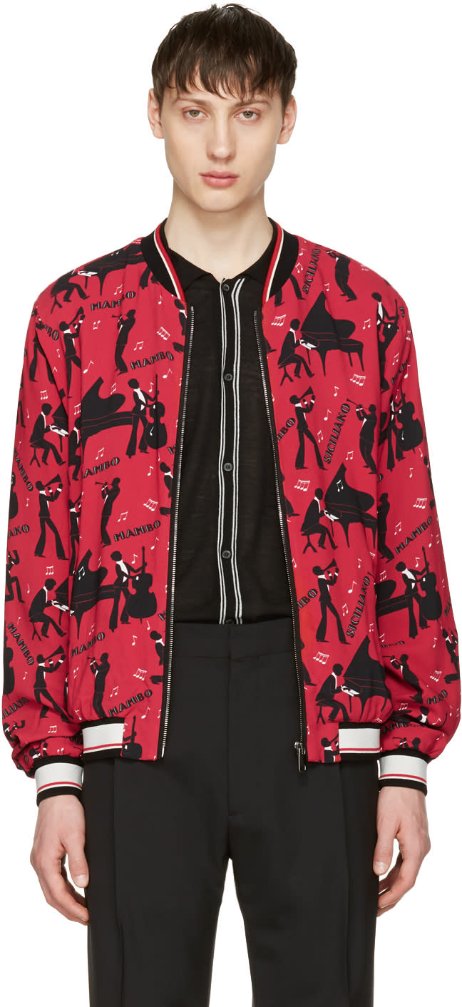 Dolce and Gabbana Red Mambo Bomber Jacket