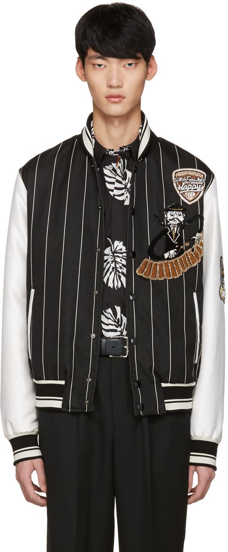Dolce and Gabbana Black Piano Man Varsity Jacket