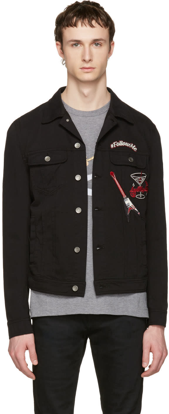 Dolce and Gabbana Black follow Me Denim Jacket