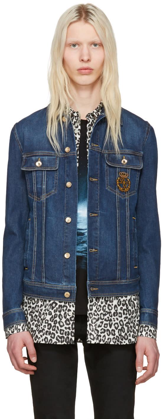 Dolce and Gabbana Blue Denim Crown Jacket
