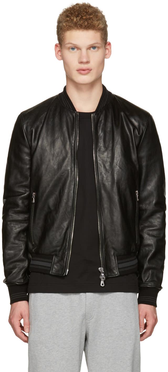 Dolce and Gabbana Black Washed Leather Bomber Jacket