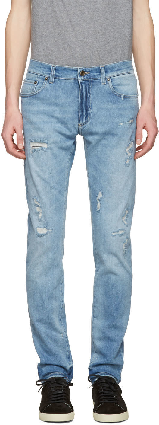 Dolce and Gabbana Blue Distressed Jeans