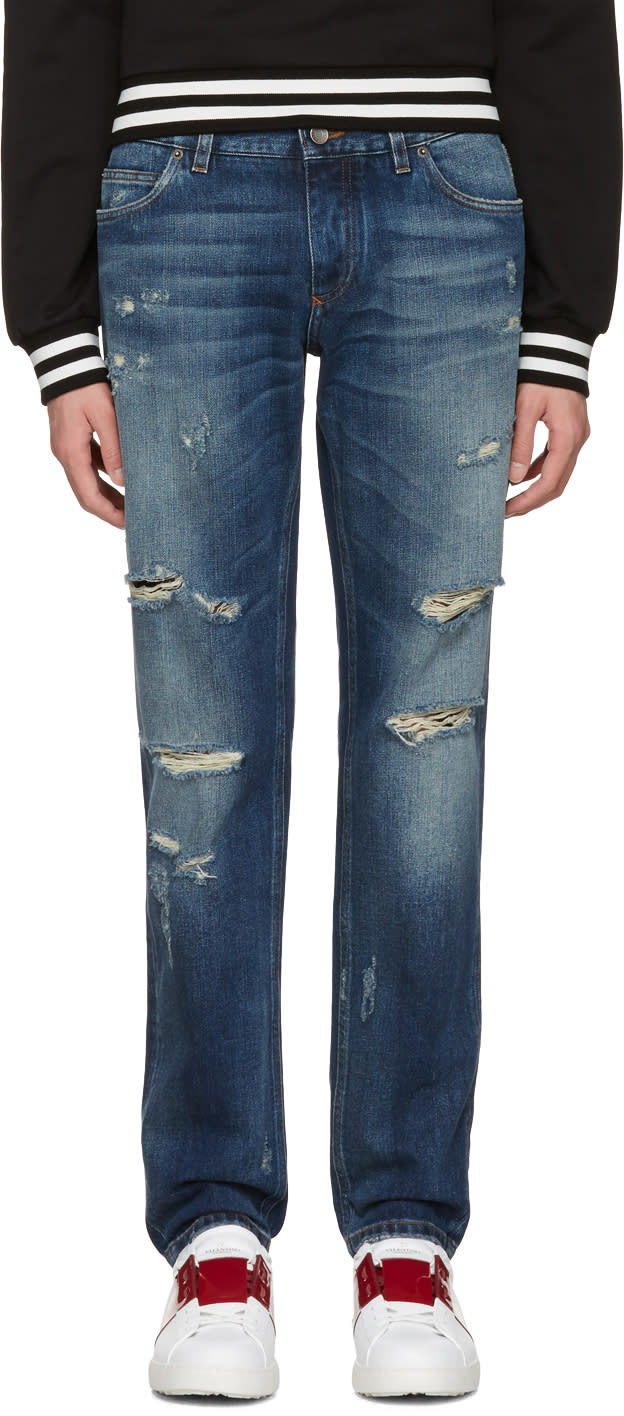 Dolce and Gabbana Blue Gold Fit Jeans