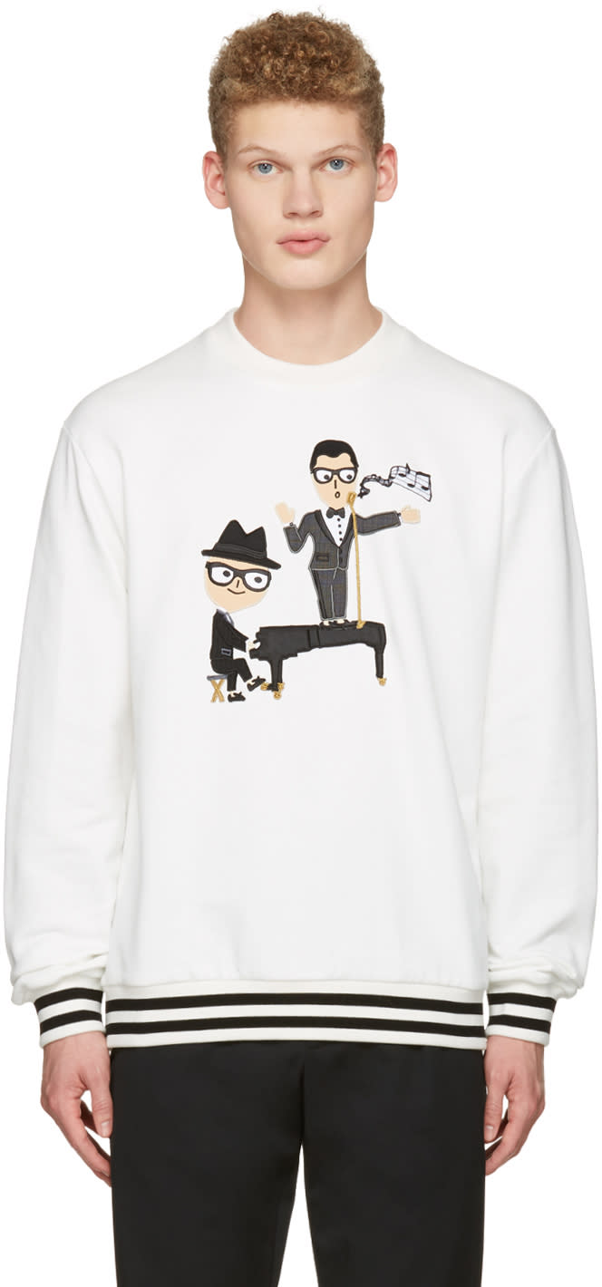 Dolce and Gabbana White Piano Singer Duo Pullover