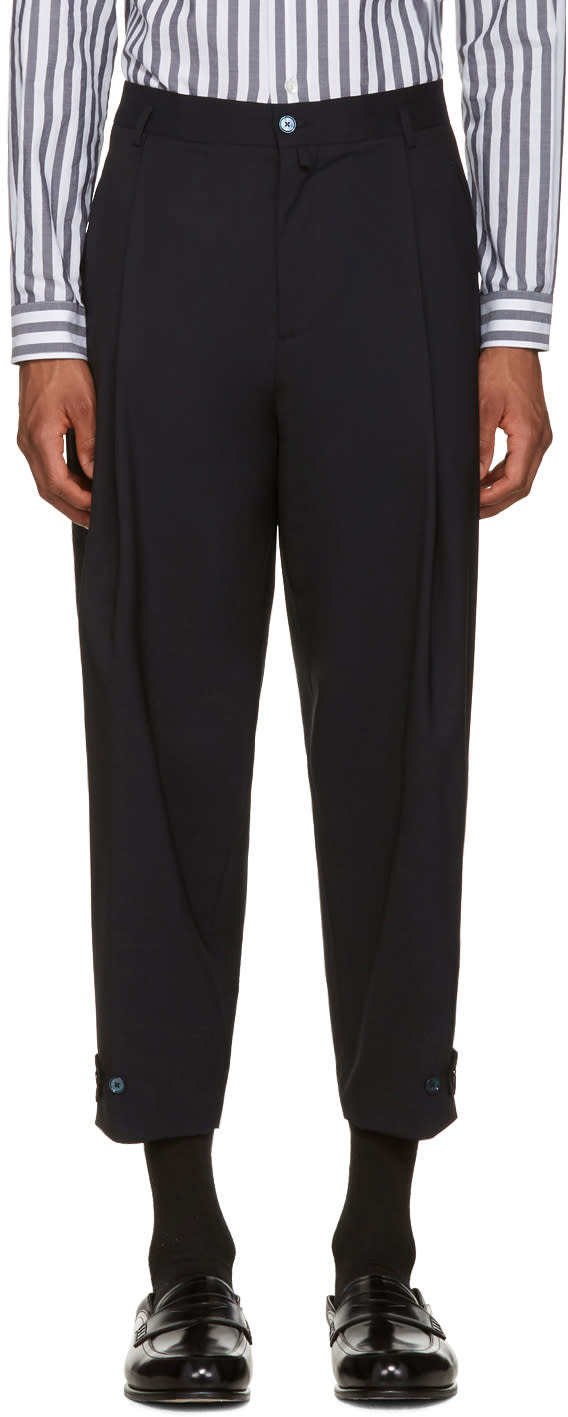 Dolce and Gabbana Navy Pleated Trousers