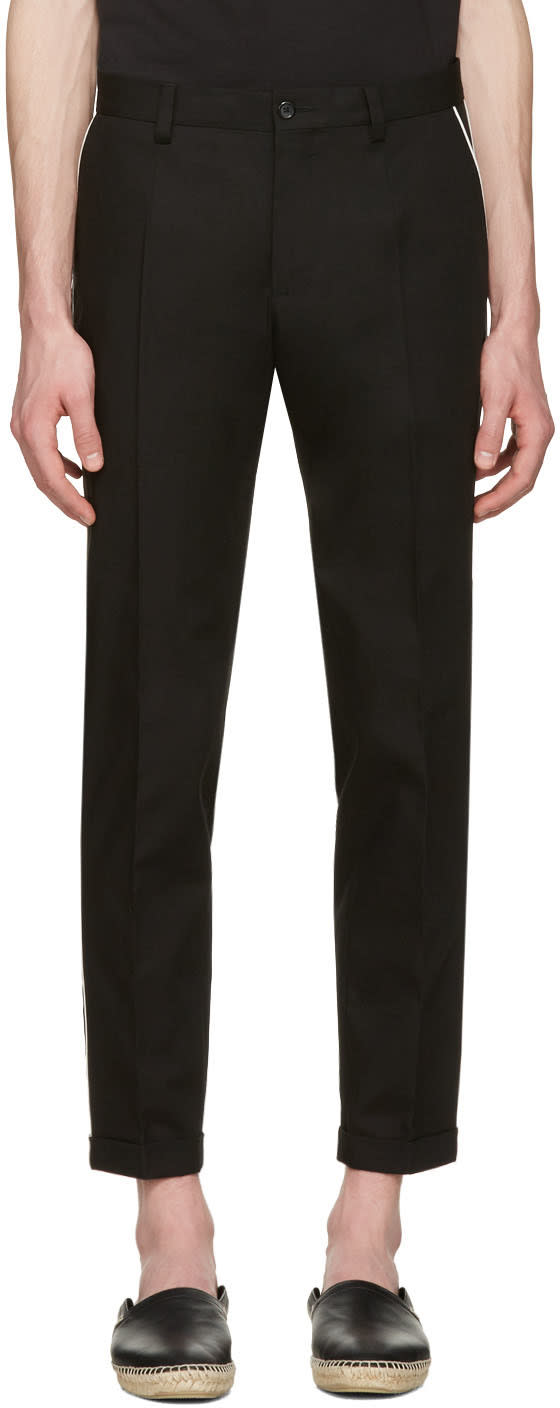 Dolce and Gabbana Black Contrast Piping Trousers