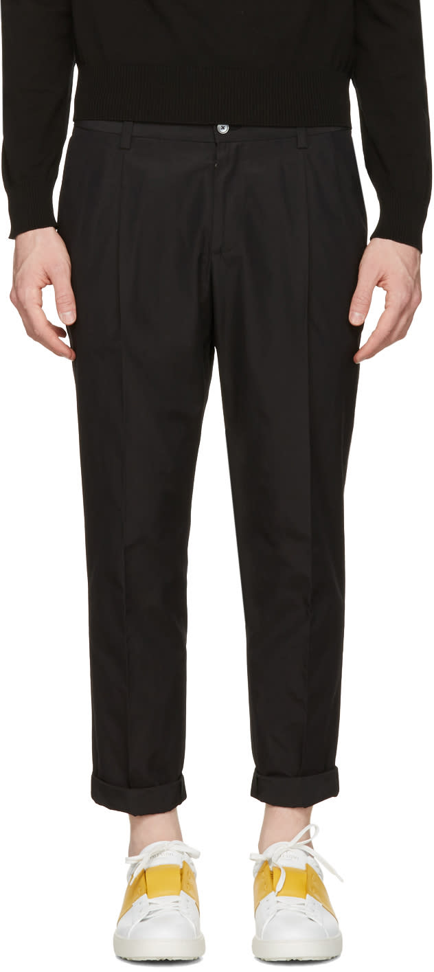 Dolce and Gabbana Black Pleated Trousers