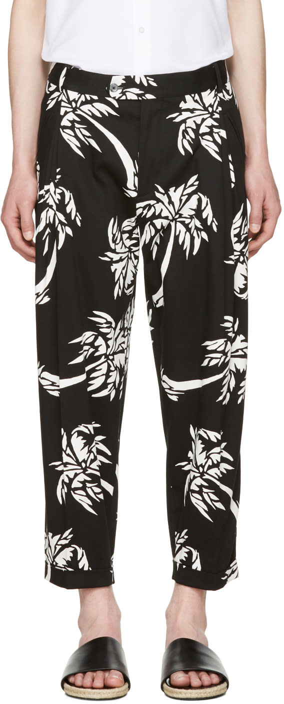 Dolce and Gabbana Black Cropped Palm Trousers
