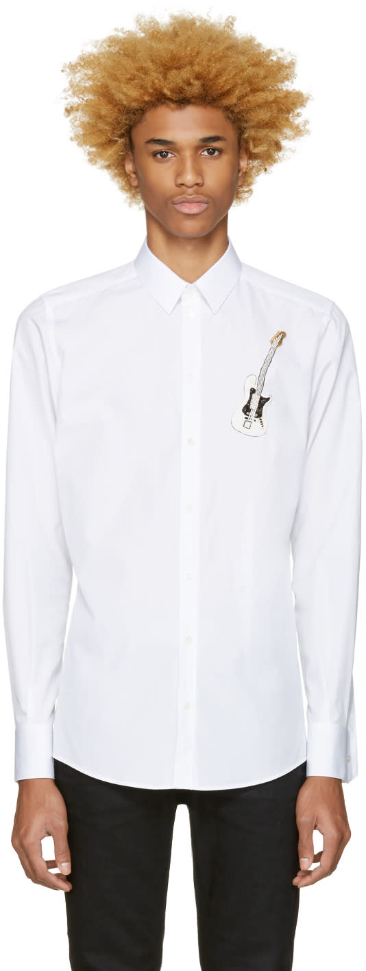 Dolce and Gabbana White Embroidered Guitar Shirt
