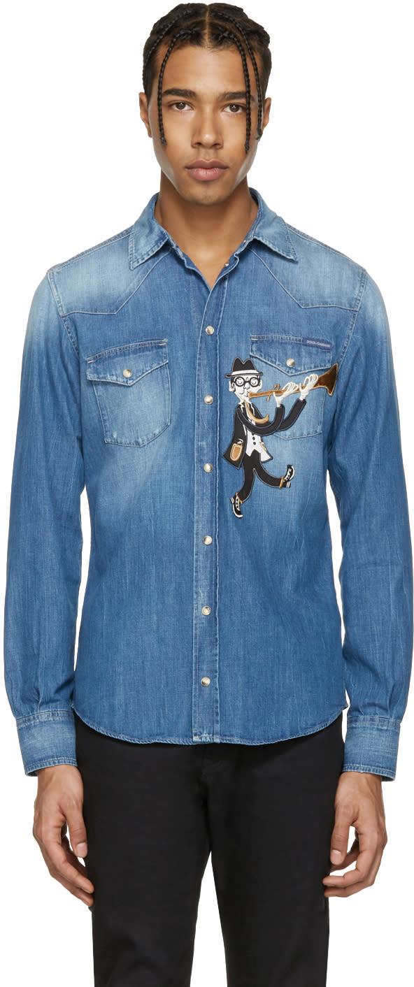 Dolce and Gabbana Blue Denim Musician Shirt