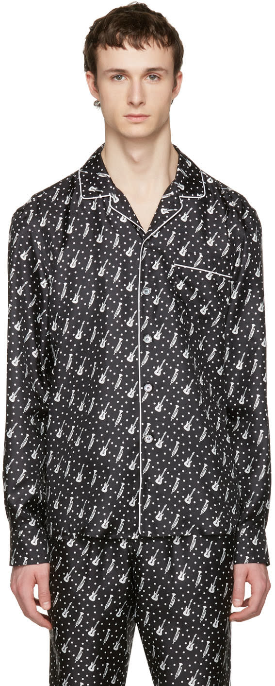 Dolce and Gabbana Black Silk Music Pajama Shirt