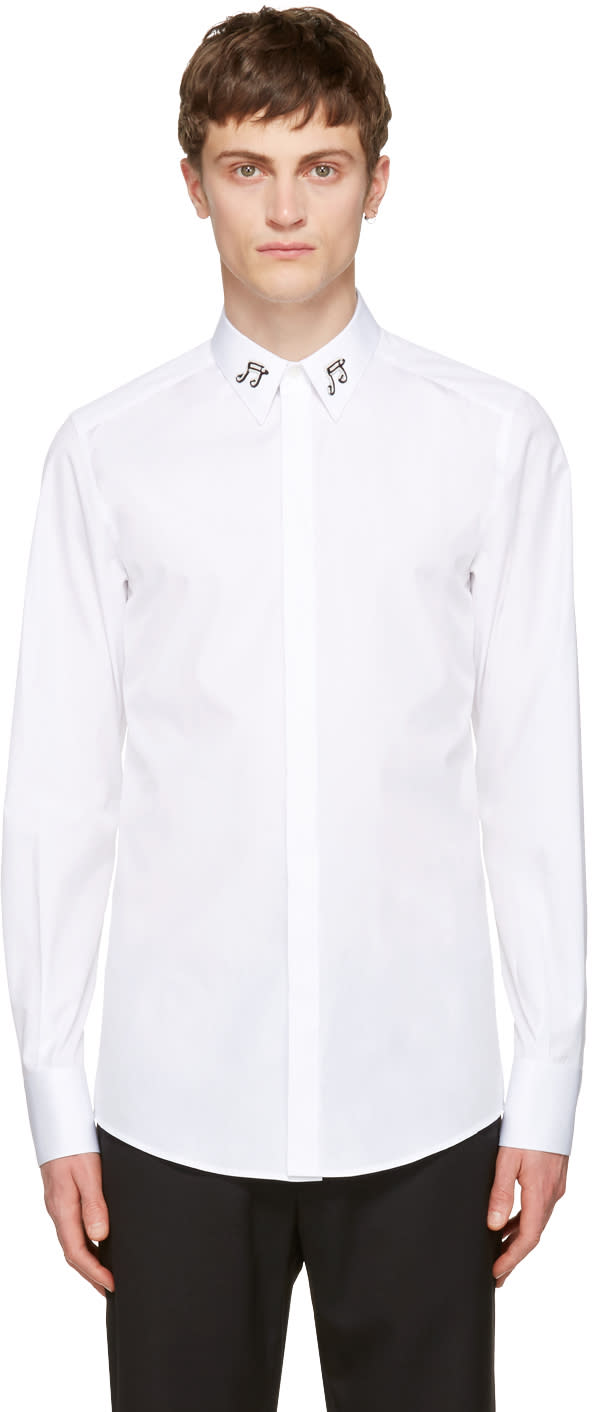 Dolce and Gabbana White Music Notes Shirt