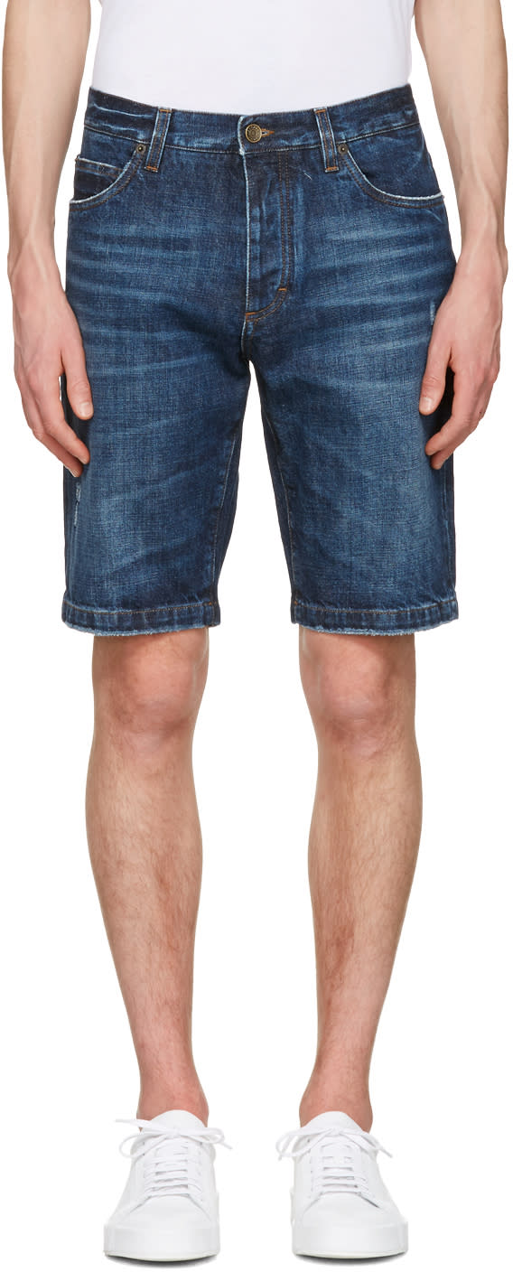 Dolce and Gabbana Blue Denim Music Patch Shorts