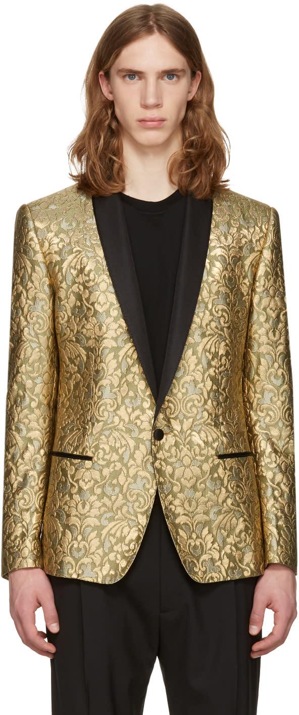 Dolce and Gabbana Gold Jacquard Blazer