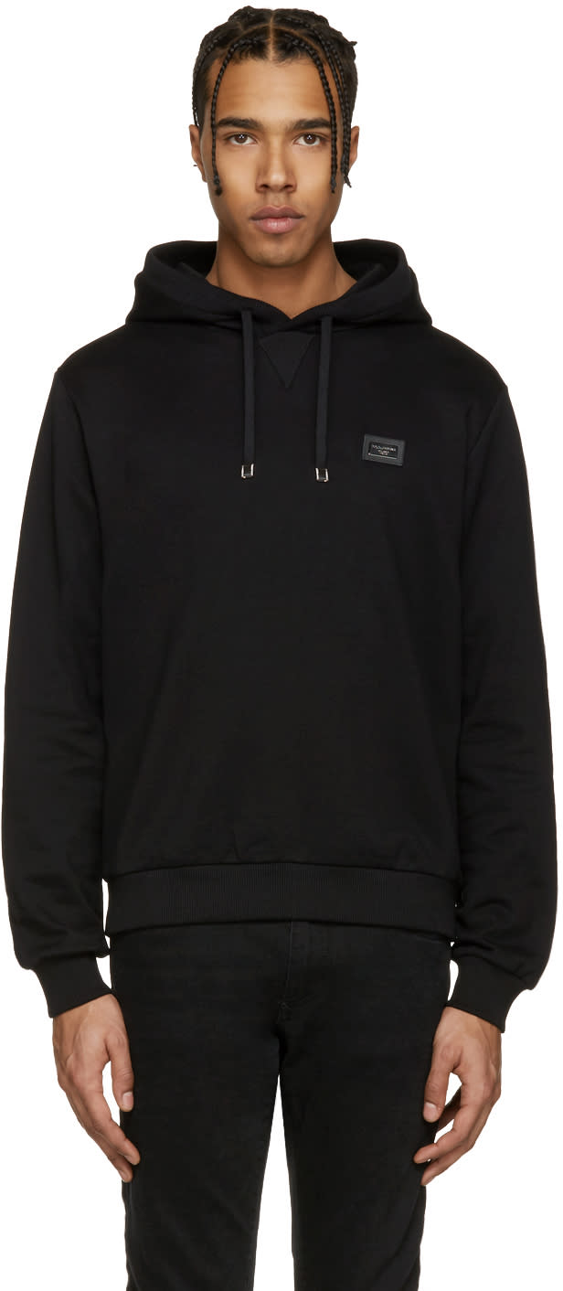 Dolce and Gabbana Black Logo Plaque Hoodie