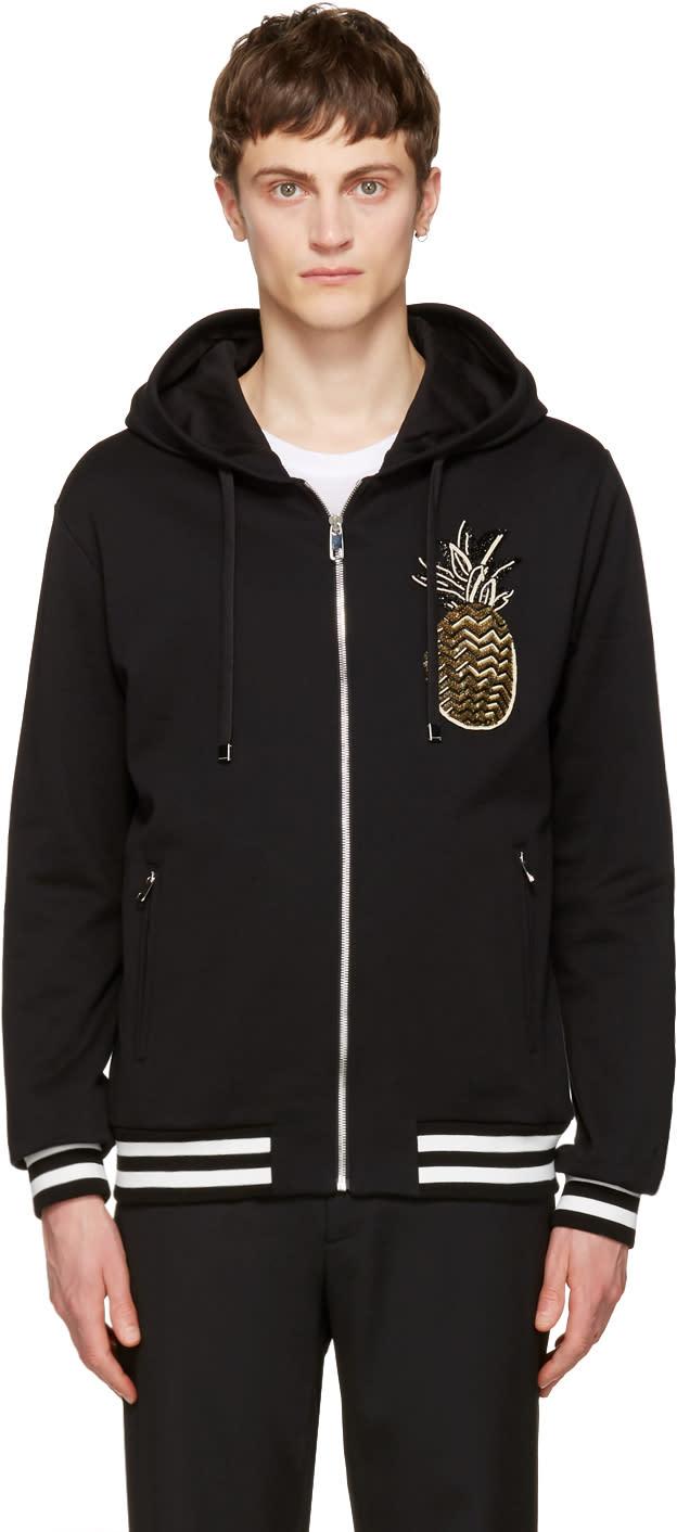 Dolce and Gabbana Black Pineapple Zip Hoodie