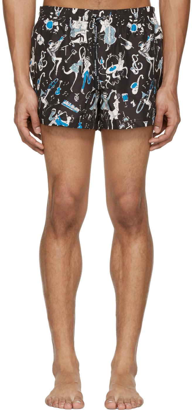 Dolce and Gabbana Black Jazz Musician Swim Shorts