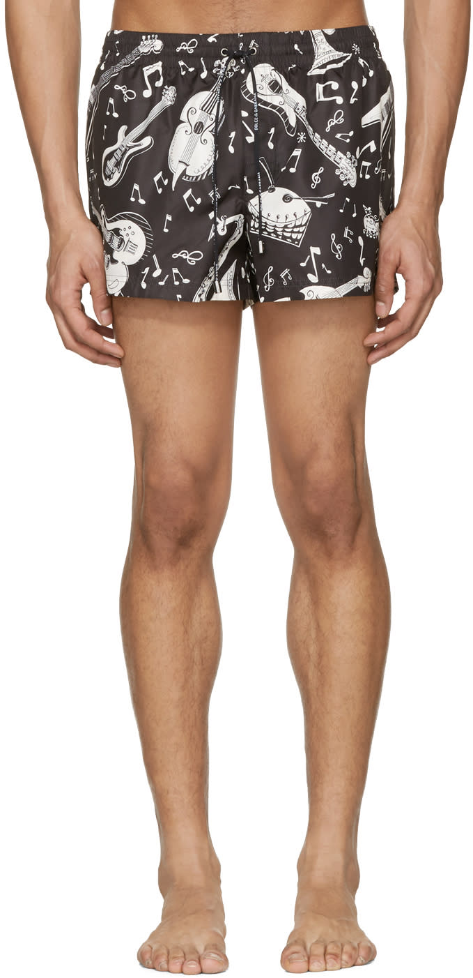 Dolce and Gabbana Black and White Instrument Swim Shorts