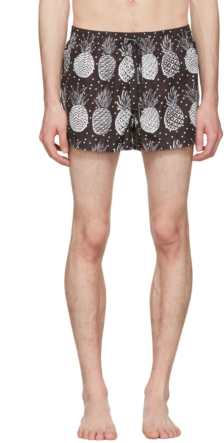Image of Dolce and Gabbana Black and White Pineapple Swim Shorts
