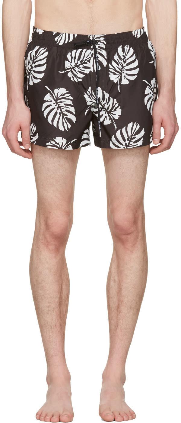Dolce and Gabbana Black Leaf Swim Shorts