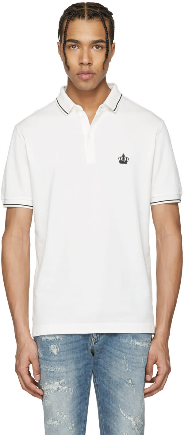 Dolce and Gabbana Off-white Crown Polo