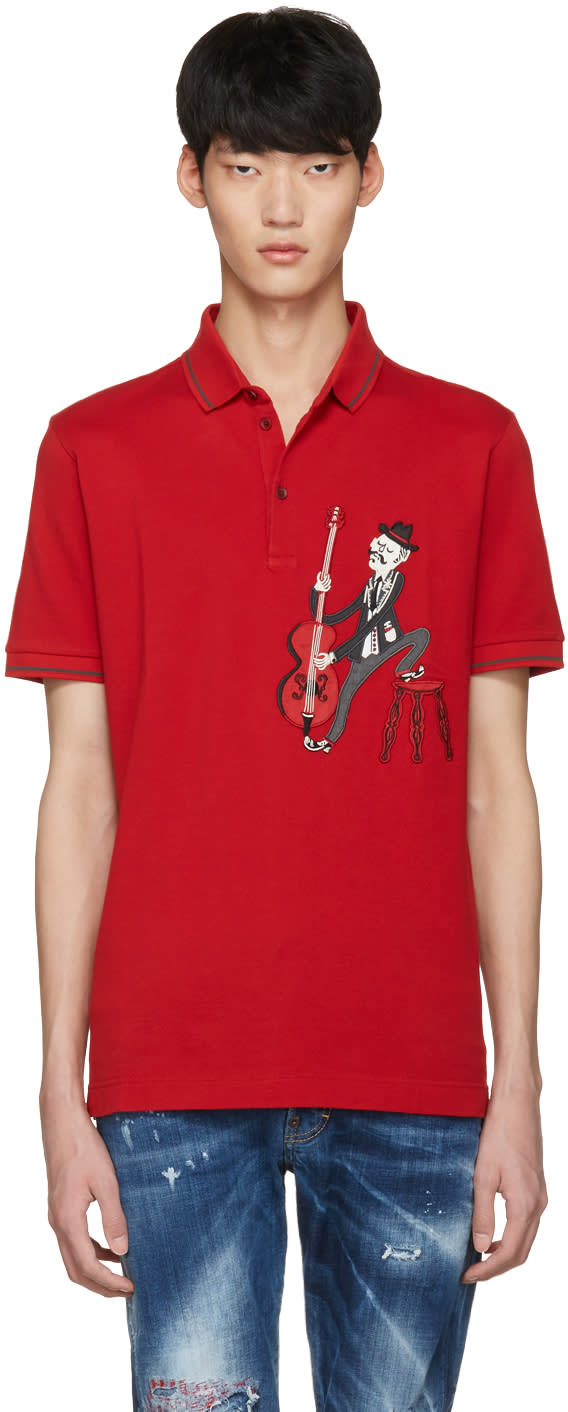 Dolce and Gabbana Red Cello Player Polo