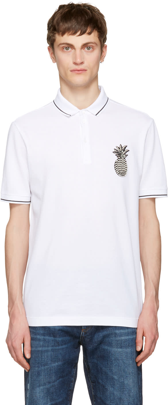 Dolce and Gabbana White Pineapple Polo