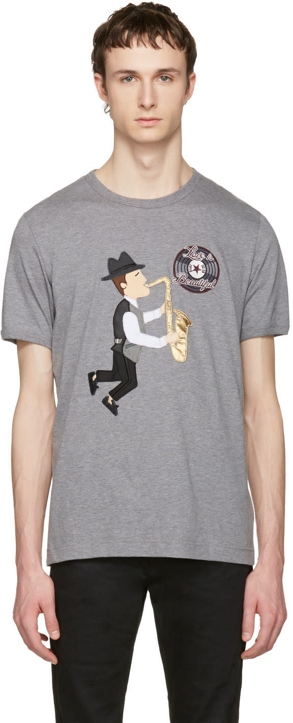 Dolce and Gabbana Grey love Is Beautiful Sax Player T-shirt