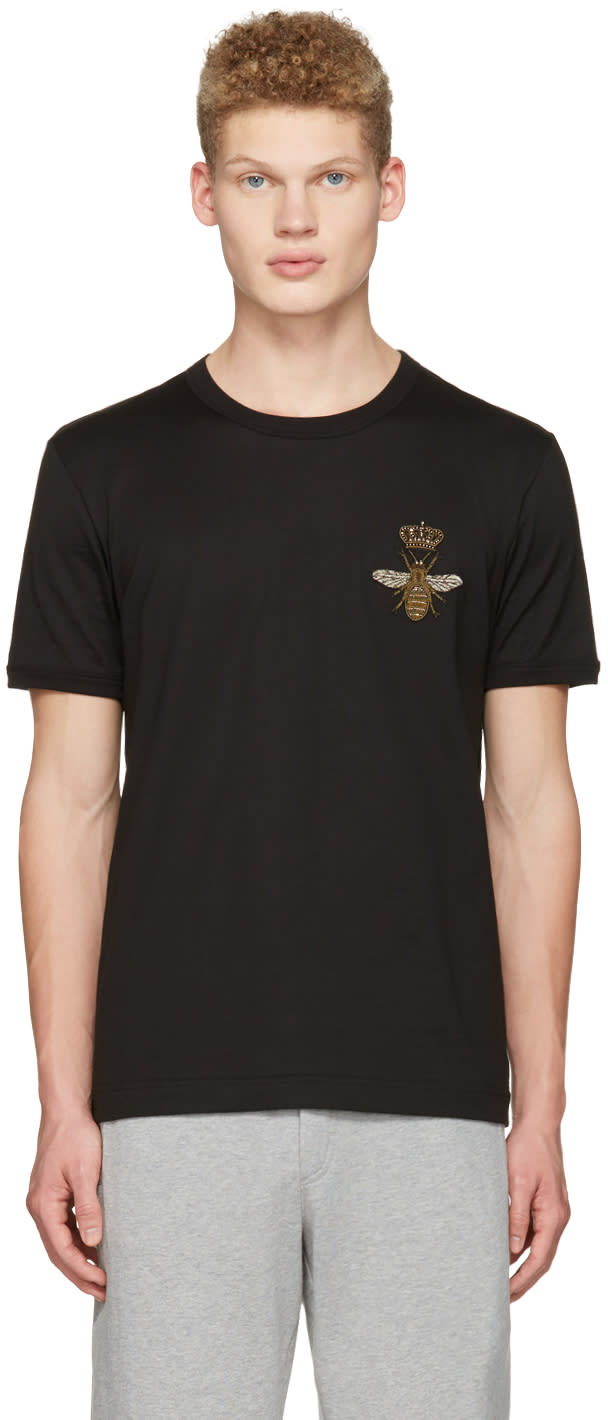 Dolce and Gabbana Black Crown Bee T-shirt